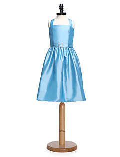 Lanting Bride® Knee-length Taffeta Junior Bridesmaid Dress A-line Halter with Sash / Ribbon / Crystal Brooch