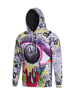 Men's Print Casual / Work / Formal / Sport Hoodie,Polyester Long Sleeve White