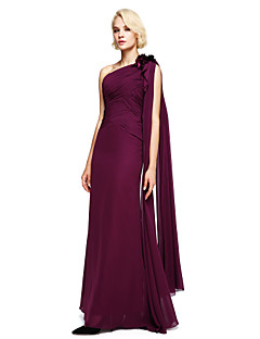 Lanting Bride® Floor-length Chiffon Bridesmaid Dress Ball Gown One Shoulder with Beading / Flower(s)