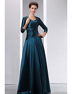 A-line Mother of the Bride Dress - Two Pieces Floor-length 3/4 Length Sleeve Taffeta with Appliques Beading