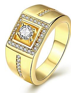 Pánské Prsten láska Přizpůsobeno luxusní šperky bižuterie Zirkon Měď Postříbřené Pozlacené Geometric Shape Šperky Pro Svatební Párty