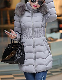 Women's Long Padded CoatSimple Casual/Daily Solid-Faux Fur / Polyester White  Long Sleeve Hooded Outerwear