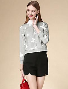 T-shirt Da donna Casual Semplice Autunno,Animal Rotonda Cotone Grigio Manica lunga Medio spessore