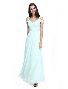 A-Line Straps Ankle Length Chiffon Bridesmaid Dress with Criss Cross Ruching by LAN TING BRIDE®