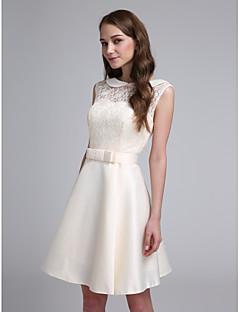 2017 Lanting bride® krátký / mini krajkový / saténové elegantní družička šaty - linky A šperk s lukem (y)