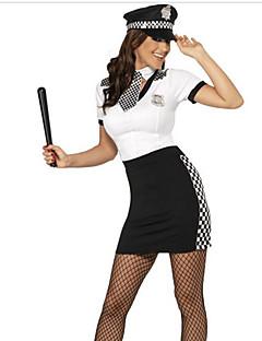 Disfraces de Cosplay Ropa de Fiesta Policía Disfraces carrera Festival/Celebración Disfraces de Halloween Blanco Negro EstampadoVestido