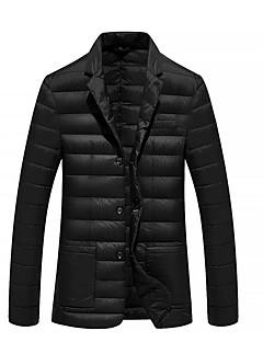 Herren Gefüttert Mantel,Standard Einfach Lässig/Alltäglich Solide-Polyester Baumwolle Langarm Blau / Schwarz