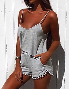 Women's Casual/Daily / Sports Cute / Active Summer / Fall Set Pant Suits,Solid Strap Sleeveless Black / Gray Cotton Medium