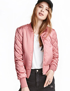 Women's Casual/Daily Simple Jackets,Solid Long Sleeve Winter Pink / Red / Black / Green / Yellow Polyester