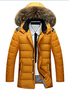 Men's Down Coat,Simple Plus Size / Going out Solid-Polyester White Duck Down Long Sleeve Red / Black / Green / Yellow