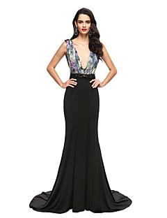 2017 TS couture® רשמי חצוצרת שמלת הערב / בת ים צווארון V שיפון רכבת משפט / ג'רזי עם אבנט / סרט / קשת (הים)