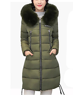 Women's Regular Padded CoatSimple / Street chic Plus Size Slim Thick Warm Casual Fur Trim Solid Long Sleeve Hooded