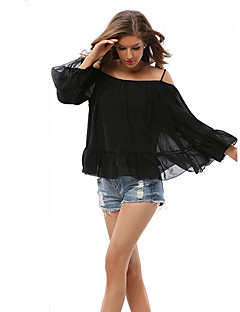 Women's Casual/Daily / Beach Cute Spring / Fall Blouse,Solid / Print Off Shoulder Long Sleeve Black Others Medium