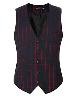 Men's Casual/Daily / Formal Simple Spring / Fall Blazer Vest Print V Neck Sleeveless Cotton / Acrylic / Polyester 916453