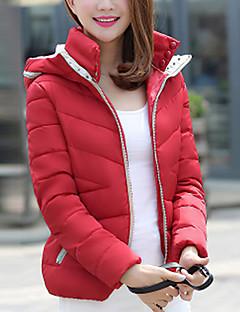 Manteau Rembourré Femme,Normal simple Décontracté / Quotidien Couleur Pleine-Polyester Polypropylène Manches Longues Bleu / Rose / Rouge