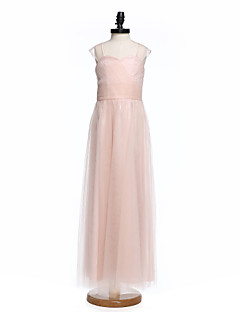 Lanting Bride Floor-length Tulle Junior Bridesmaid Dress Sheath / Column Straps with Buttons / Criss Cross / Ruching