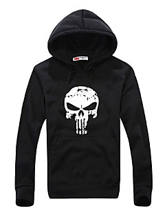 Men's Teen Casual Daily Sports Hip Hop Skull Printing Long Sleeve Cotton Fall  Winter Hooded Sweater Pullover