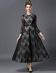 A-linje / Skjede Dress Fritid/hverdag / Party/Cocktail / Plusstørrelser Sexy / Vintage Dame,Broderi Rund hals Maxi / Ovenfor knéet