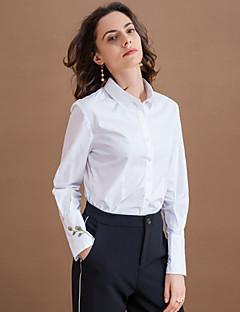 Camicia Da donna Formali Semplice Autunno,Ricamato Colletto Cotone / Poliestere Bianco Manica lunga Medio spessore