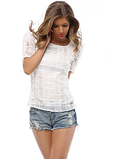 Women's Casual/Daily Simple Summer T-shirt,Solid Round Neck Short Sleeve White / Black Polyester Medium