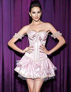 Women Sexy Pearl Lace  Bow Underbust  Nightwear Push-Up Print Pink  Abdomen Corset