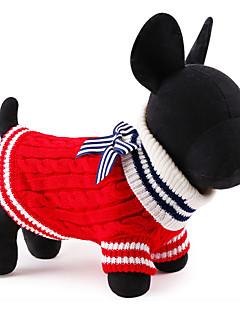 kočičky / pejsky svetry Červená / Modrá Oblečení pro psy Zima / Jaro/podzim Barevné bloky Roztomilé / Vánoce / Silvestr