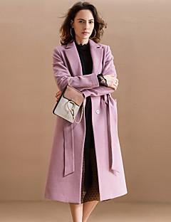 Damen Solide Einfach Ausgehen Mantel,Winter Gekerbtes Revers Langarm Blau / Rosa Mittel Acryl / Polyester