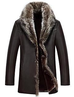 אחיד פשוטה יום יומי\קז'ואל / מידות גדולות מעיל פרווה גברים,אדום / שחור / חום שרוול ארוך Special Leather Types