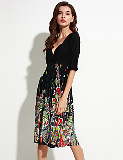 Women's Beach / Plus Size Boho Chiffon Dress,Floral V Neck Knee-length ½ Length Sleeve Black Polyester / Spandex Summer