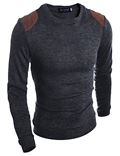 Men's Casual/Daily Work Sports Regular Pullover,Solid Long Sleeve Cotton