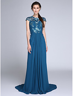 TS Couture Formal Evening Military Ball Dress - See Through Sheath / Column Jewel Sweep / Brush Train Chiffon Sequined withSide Draping