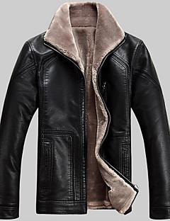 Heren Eenvoudig Winter Leren jacks,Casual/Dagelijks / Grote matenLange mouw Zwart / Bruin Effen Lamsvel