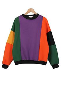 Dame Afslappet/Hverdag Aktiv Simpel Sweatshirt Farveblok Rund hals Bomuld Elastisk Langærmet Efterår Vinter