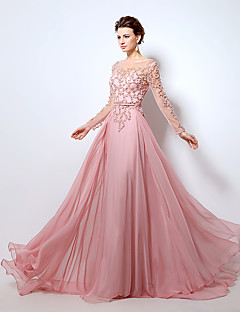 Formal Evening Dress - See Through A-line Bateau Floor-length Chiffon with Beading