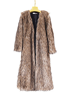 Women's Casual/Daily Punk & Gothic CoatSolid V Neck Long Sleeve Winter Brown Faux Fur Thick