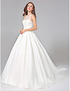 LAN TING BRIDE Ball Gown Wedding Dress - Elegant & Luxurious Open Back Chapel Train Jewel Mikado with Beading Button Ruche Sash / Ribbon