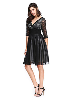 TS Couture® Cocktail Party Dress A-line V-neck Knee-length Chiffon / Lace with Sash / Ribbon / Ruching