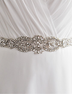 Satin Wedding / Party/ Evening / Dailywear Sash - Sequins / Beading / Appliques / Pearls / Crystal Women's Sashes