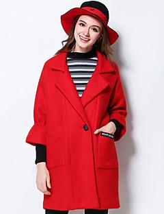 Notch Lapel Langærmet Medium Dame Rød / Grøn Ensfarvet Vinter Vintage Casual/hverdag / Plusstørrelser Frakke,Polyester