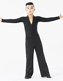 Danse latine Tenue Enfant Spectacle Fibre de Lait Fantaisie 2 Pièces Manche longue Taille moyenne Haut Pantalon