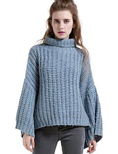Damen Lang Pullover-Lässig/Alltäglich Einfach Solide Blau Rollkragen Langarm Wolle Herbst Winter Mittel Mikro-elastisch