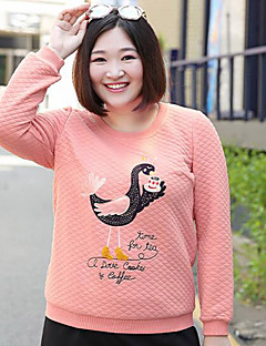 Women's Plus Size Simple Sweatshirt Embroidered Round Neck Micro-elastic Cotton Polyester Long Sleeve Fall Winter