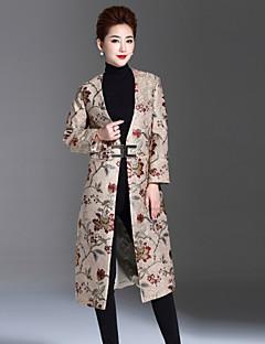 Casual/hétköznapi / Nagy méretek Kínai Téli-Női Kabát,Jacquardszövet V-alakú Hosszú ujj Piros / Bézs Nyúl szőrme / Poliészter