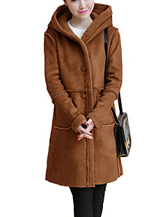Women's Casual/Daily Simple Coat,Solid Hooded Long Sleeve Fall / Winter Brown / Gray Cotton / Polyester Thick