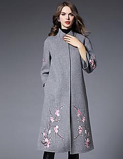 Casual/hétköznapi / Nagy méretek Egyszerű Téli-Női Kabát,Hímzett Állógallér ¾-es ujjú Piros / Fekete / Szürke Gyapjú / Poliészter / Egyéb