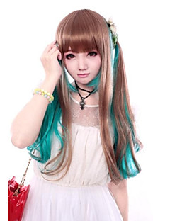 Lolita Wigs Sweet Lolita Color Gradient Long / Straight Brown / Green Lolita Wig 60 CM Cosplay Wigs Patchwork Wig For Women