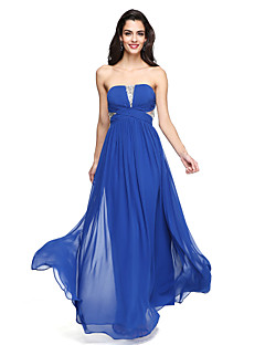 2017 Lanting Bride® Floor-length Chiffon Sparkle & Shine Bridesmaid Dress - A-line Strapless with Criss Cross
