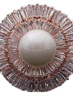 Naisten Rintaneulat ylellisyyttä koruja pukukorut Helmi Zirkoni Cubic Zirkonia Circle Shape Geometric Shape Korut Käyttötarkoitus