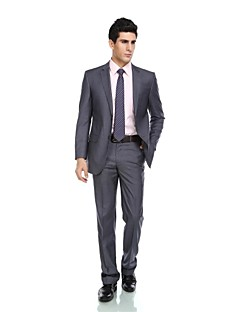 2017 Tuxedos Tailored Fit Notch Single Breasted Two-buttonsRayon(T/R) / Wool & Polyester Blended Solid 2 Pieces Gray