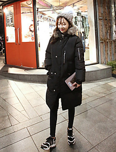 Women's Long Padded Coat,Simple Going out / Casual/Daily / Holiday Solid-Rayon Polyester Long Sleeve Hooded Black